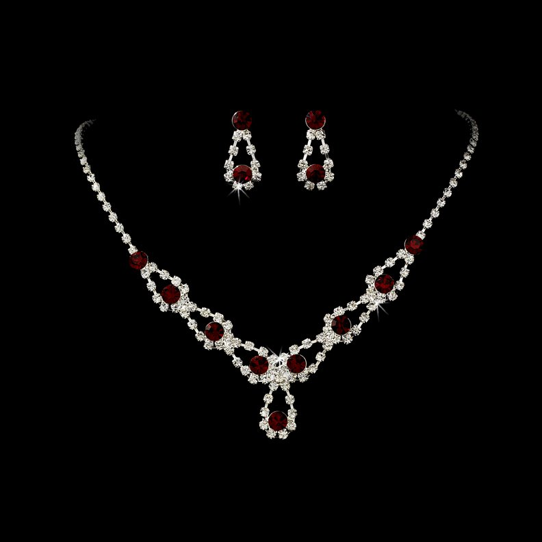 Silver Red Rhinestone Crystal Necklace Earring Set