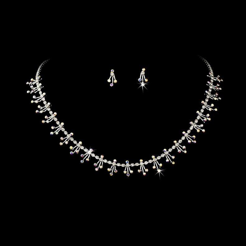Silver AB Clear Rhinestone Dazzel Necklace Earring Set
