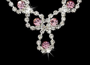 Silver  Pink Rhinestone Crystal Necklace Earring Set