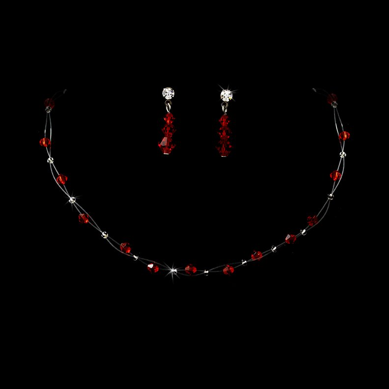 Red Swarovski Crystal Illusion Necklace Earring Set