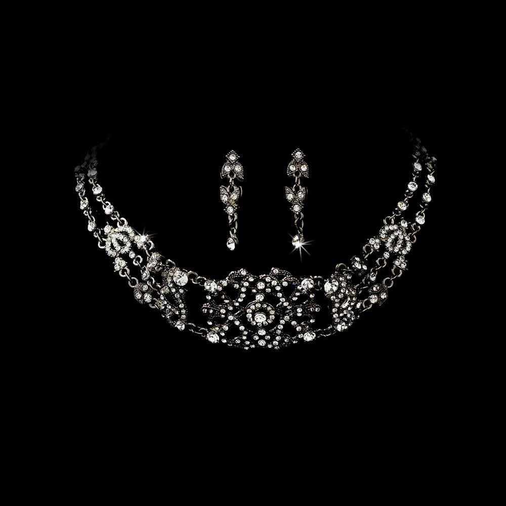 Black  Crystal Victorian Choker Necklace Earring Set