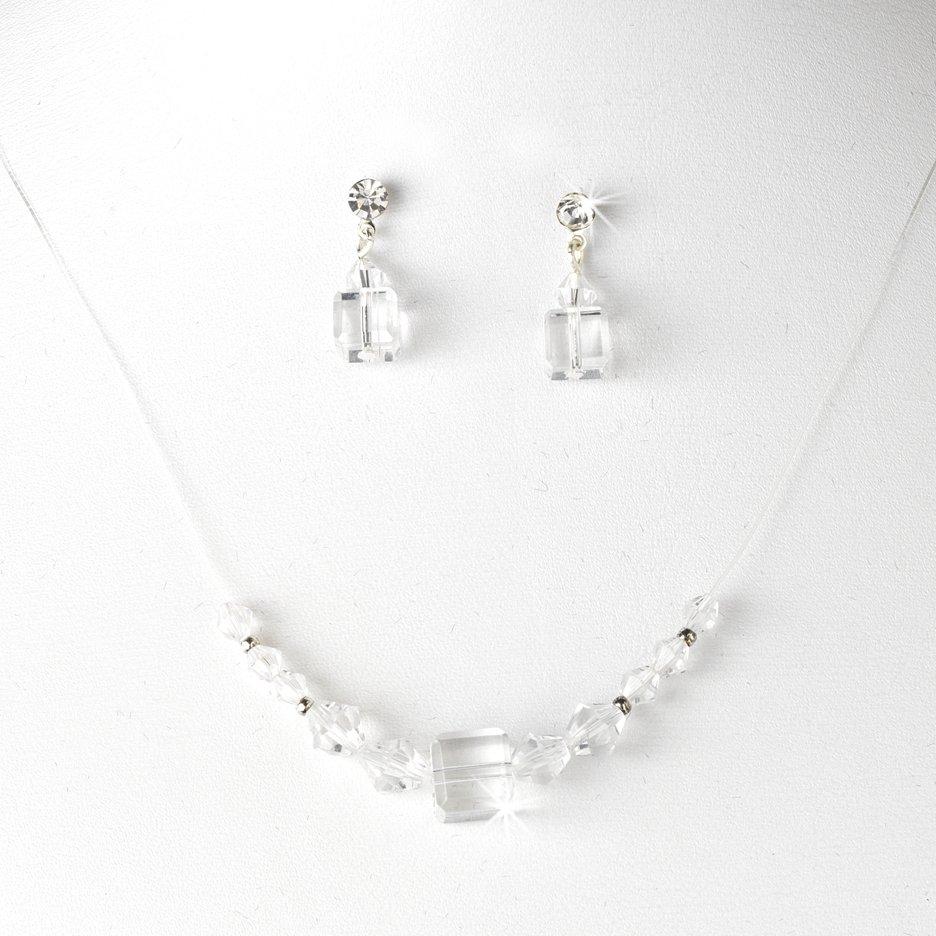 Clear Swarovski Crystal String Necklace Earring Set