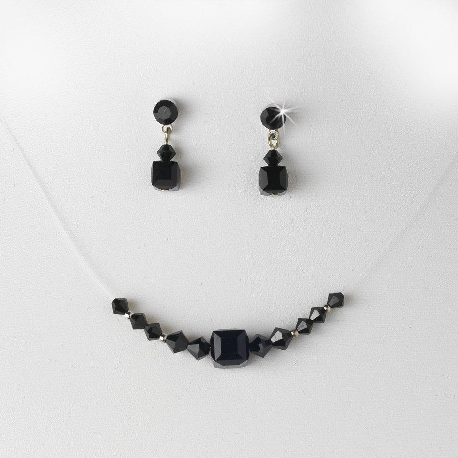 Black Swarovski Crystal String Necklace Earring Set