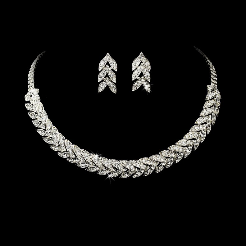 Silver Clear Rhinestone Choker Necklace Earring Set