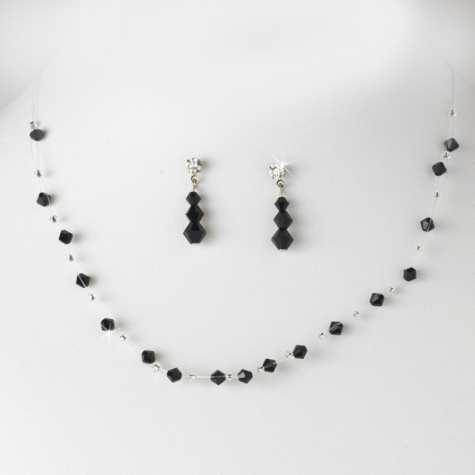 Black Swarovski Crystal Illusion Necklace Earring Set