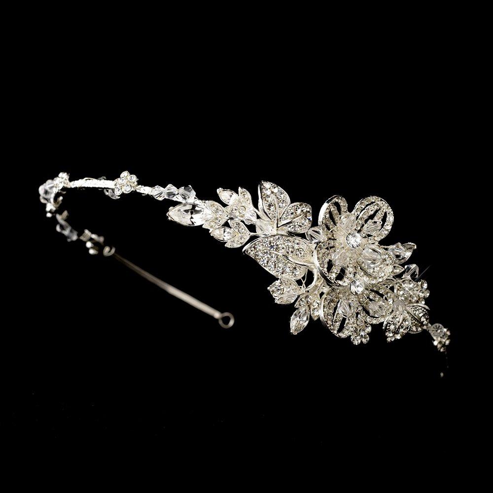 Silver Floral Swarovski Crystal Headband Tiara