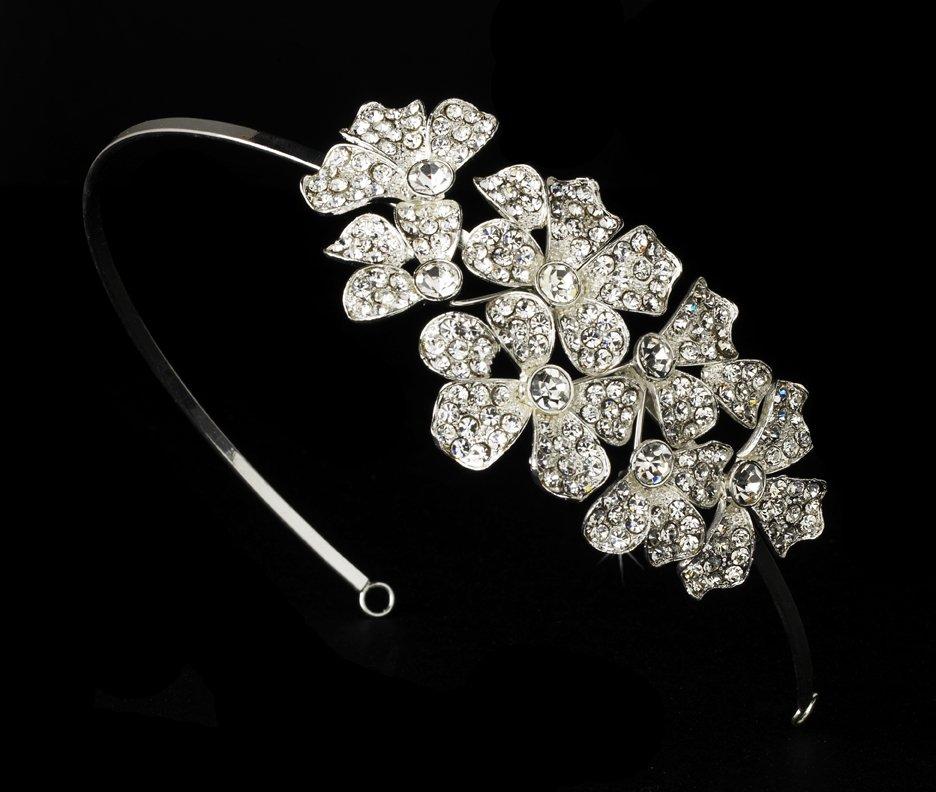Silver Rhinestone Crystal Side Flower Headband Tiara