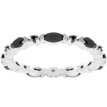 White Gold Silver Black CZ Eternity Ring
