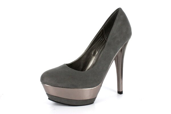 NEW Gray Suede Platform Pumps High Heels Shoes