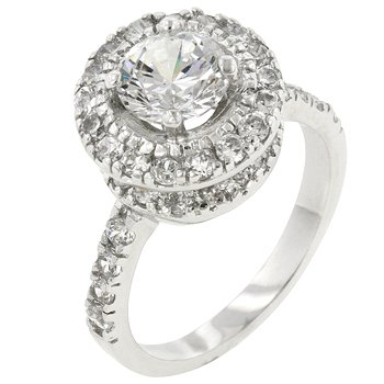 NEW White Gold Silver CZ Engagement Ring