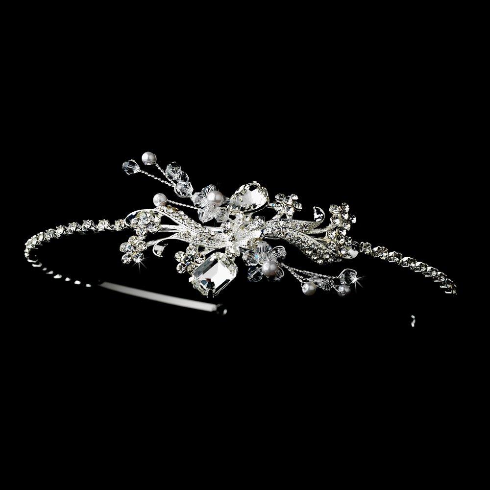 Sterling Silver Austrian Crystal Pearl Floral Tiara
