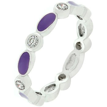 NEW White Gold Silver Purple Enamel Stacker Ring