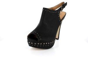 NEW Black Studded Peep Toe Platform High Heels Shoes