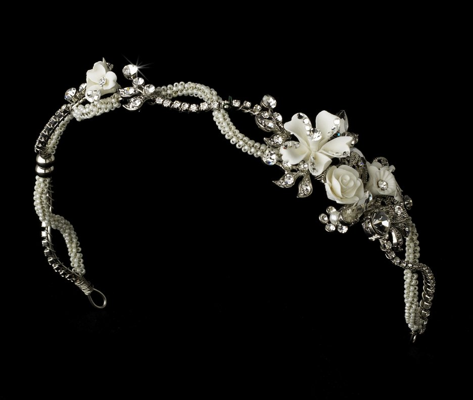 Antique Silver Crystal Ivory Floral Bridal Tiara