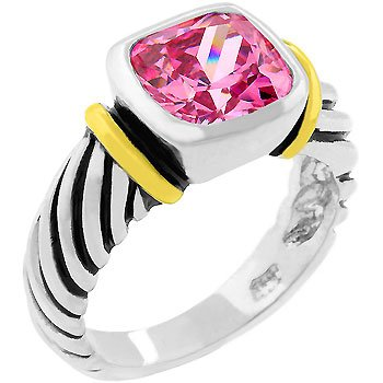 NEW Cable Pink Ice Cubic Zirconia Silver Ring