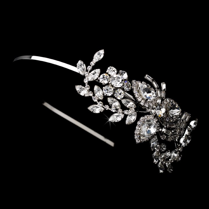 Silver Crystal Rhinestone Floral Headband Tiara