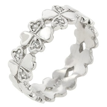 NEW White Gold .925 Sterling Silver Heart Eternity Ring