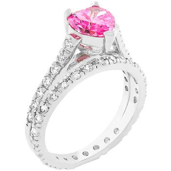 NEW White Gold Silver Heart Cut Pink CZ Ring