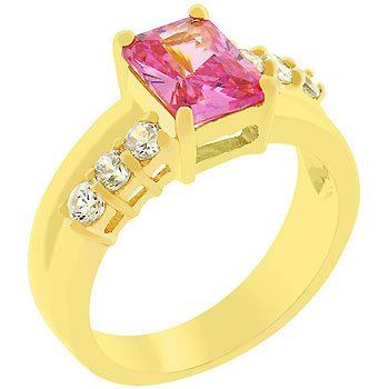 NEW 14k Gold Pink Ice Cubic Zirconia Anniversary Ring