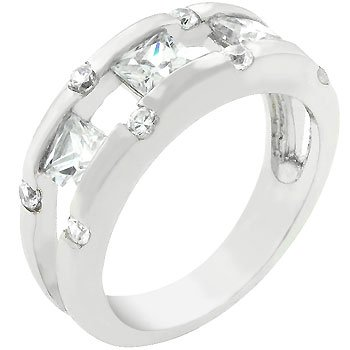 New White Gold  Ring Silver Princess Cut CZ Ring