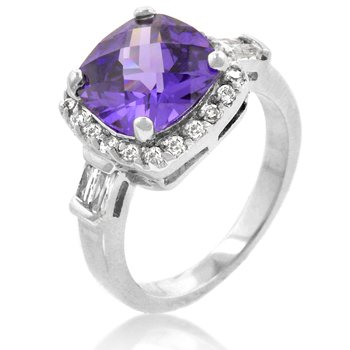 NEW White Gold Silver Amethyst Fashion Ring