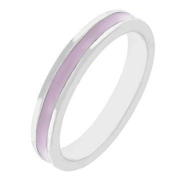NEW White Gold Silver Pink Enamel Eternity Ring