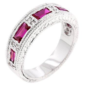 NEW White Gold Silver Garnet Eternity Band Ring