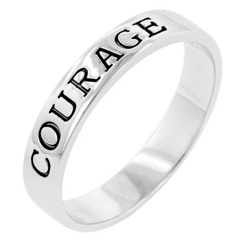 NEW White Gold .925 Sterling Silver Courage Ring
