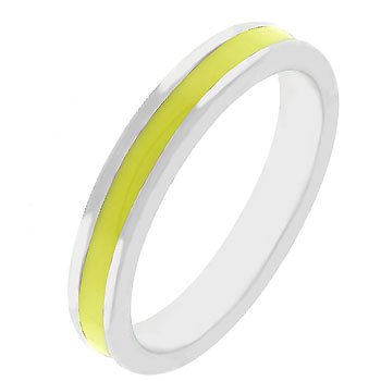NEW White Gold Silver Yellow Enamel Eternity Ring