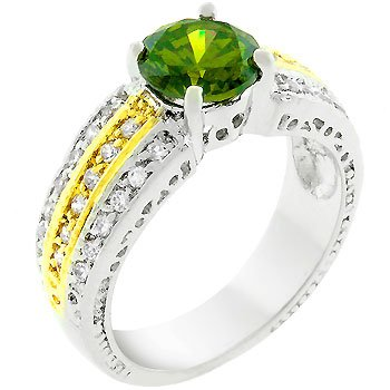 NEW White Gold Olive Cubic Zirconia Cocktail Ring