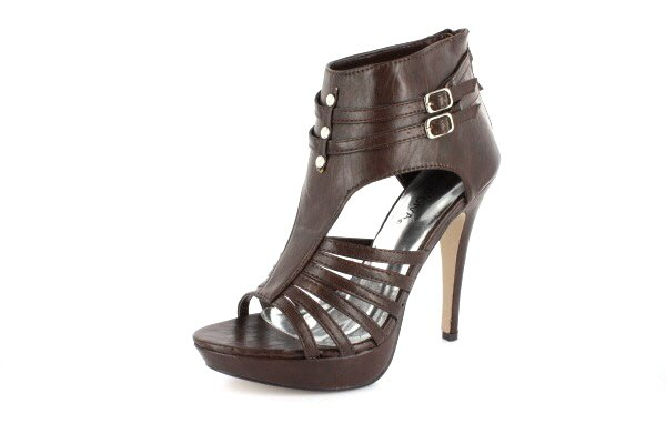NEW Brown Studded Open Toe Platform High Heels Shoes
