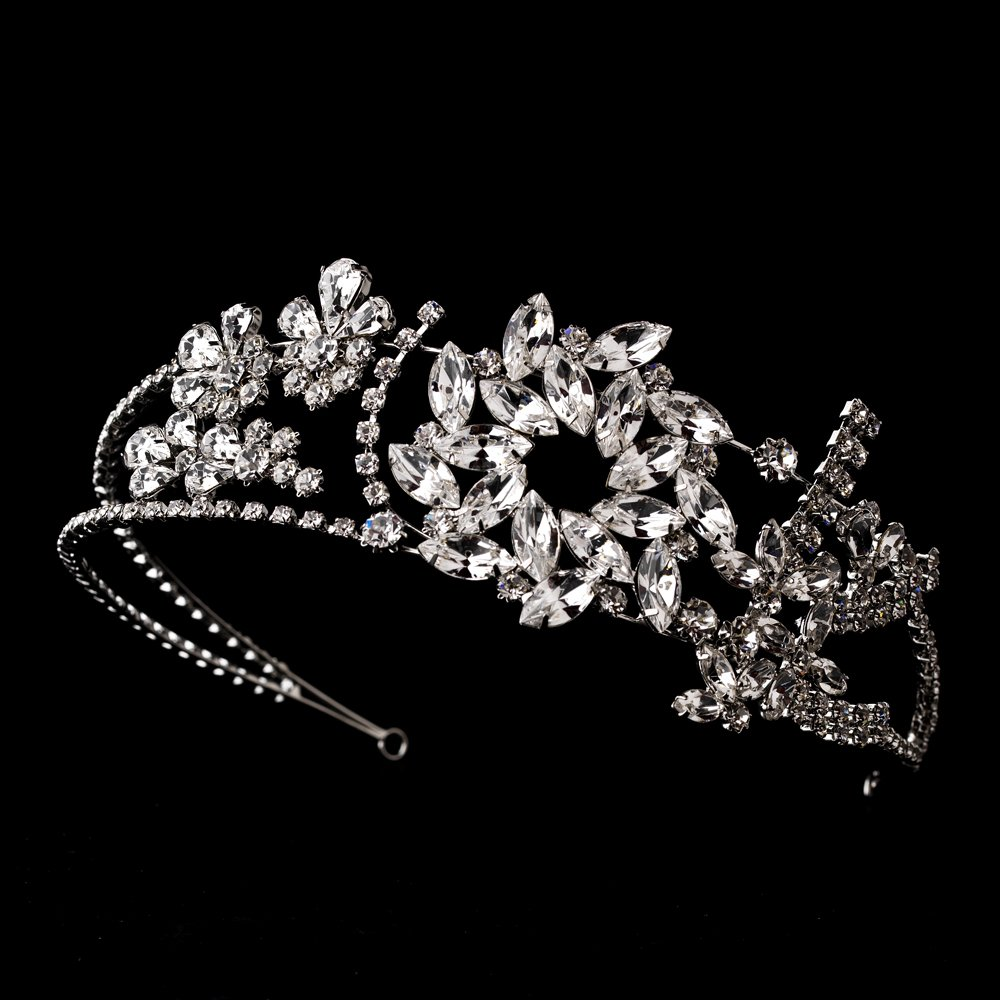Silver Antique Crystal Wreath Headband Tiara