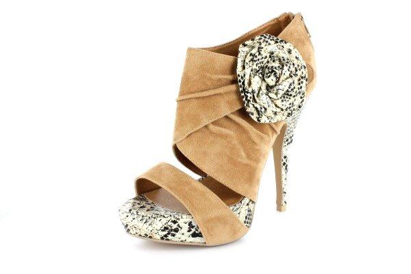 NEW Tan Suede Snakeskin Platform High Heels Shoes