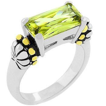 NEW 14k White Gold Emerald Cut Peridot CZ Ring