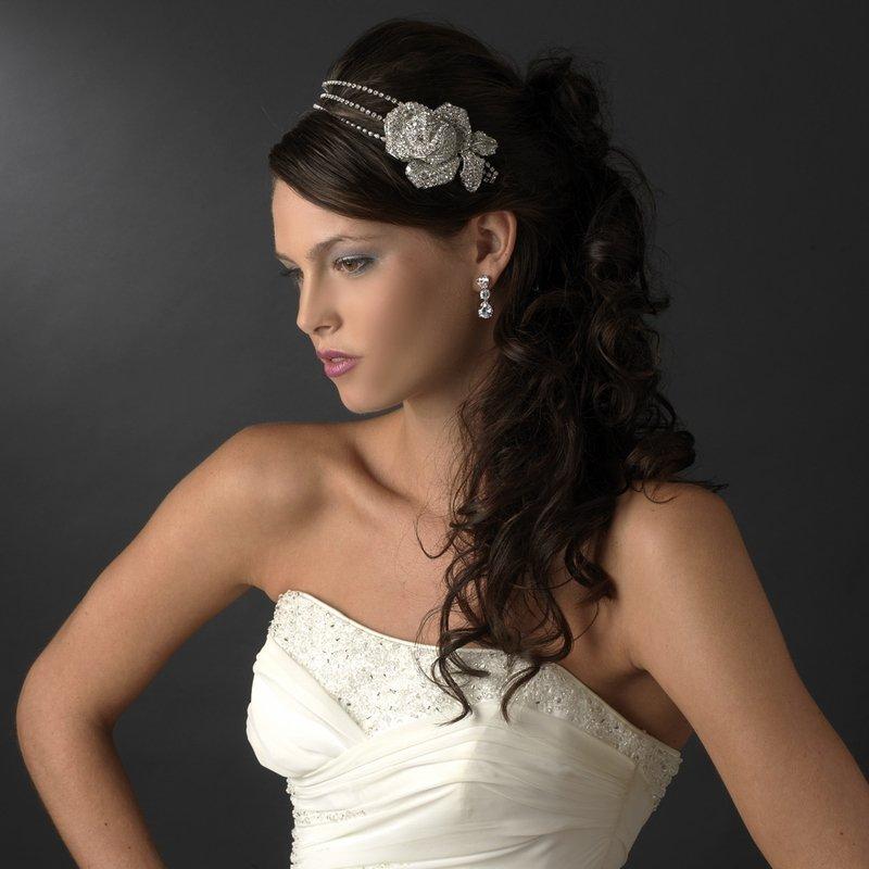 Antique Silver Swarovski Crystal Rose Headband Tiara