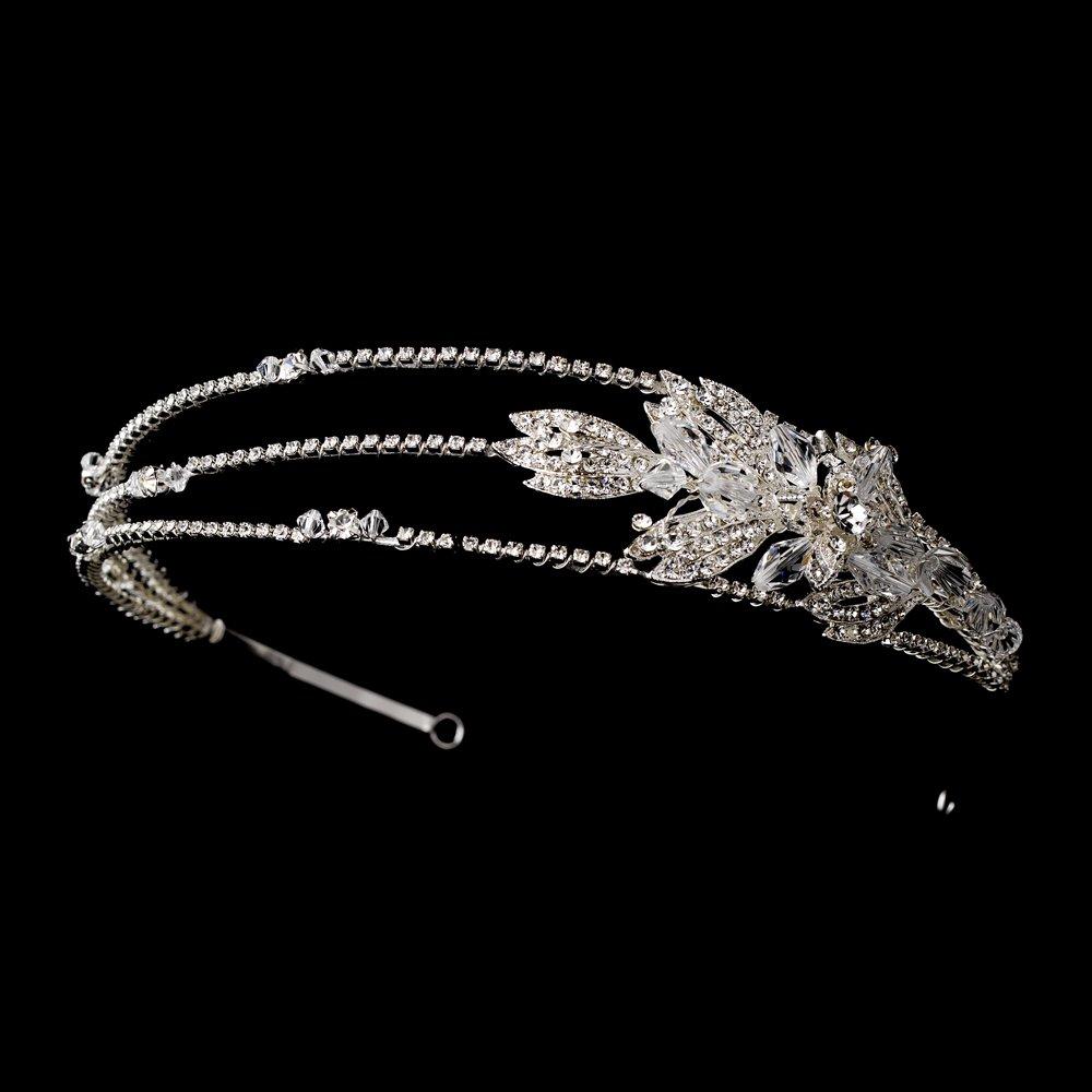 Silver Crystal Floral Three Band Headband Tiara