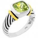 NEW Cable Peridot Cubic Zirconia Silver Ring