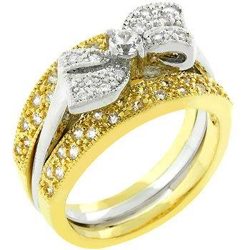 NEW 14k Gold Silver Bridal Set CZ Bow Ring
