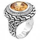 NEW White Gold Silver Antique Champange CZ Ring
