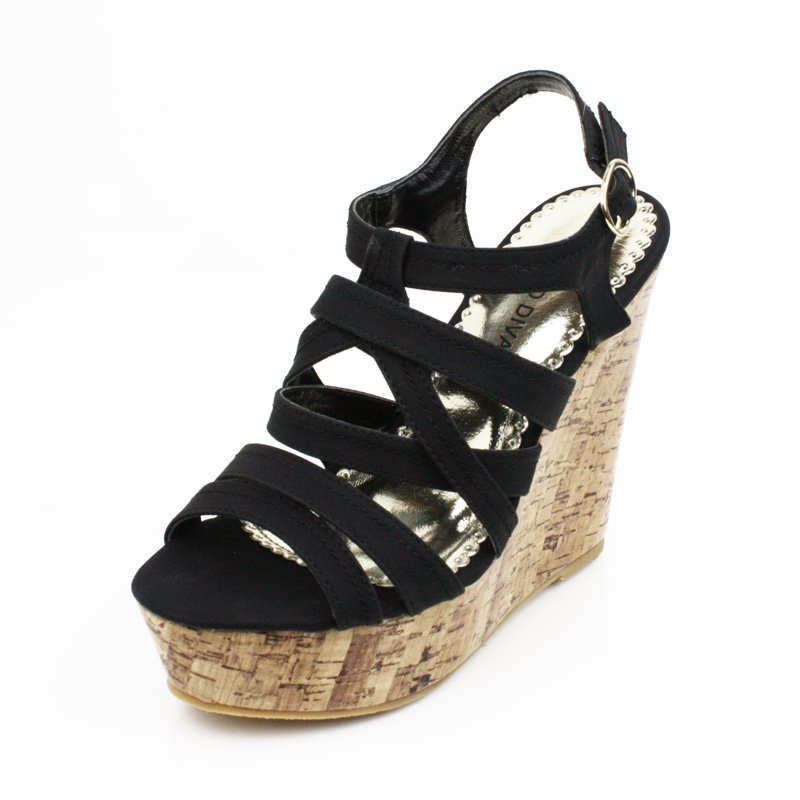 Black Faux Cork Wedge Platform Womens Shoes