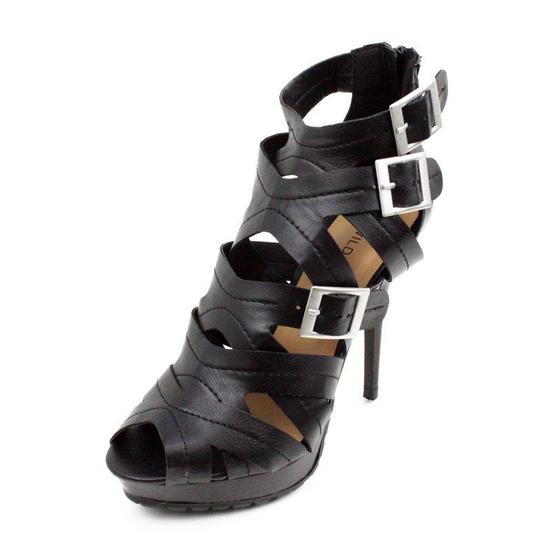 Black Multi Buckle Platform High Heels Womens Shoes