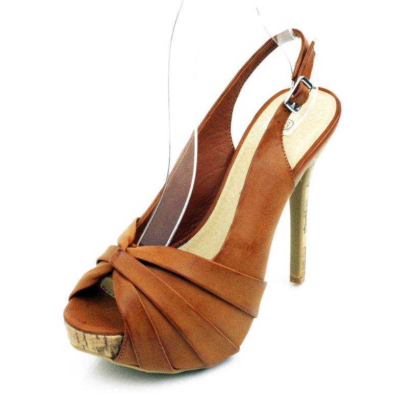Whisky Open Toe Platform Slingback Womens Shoes
