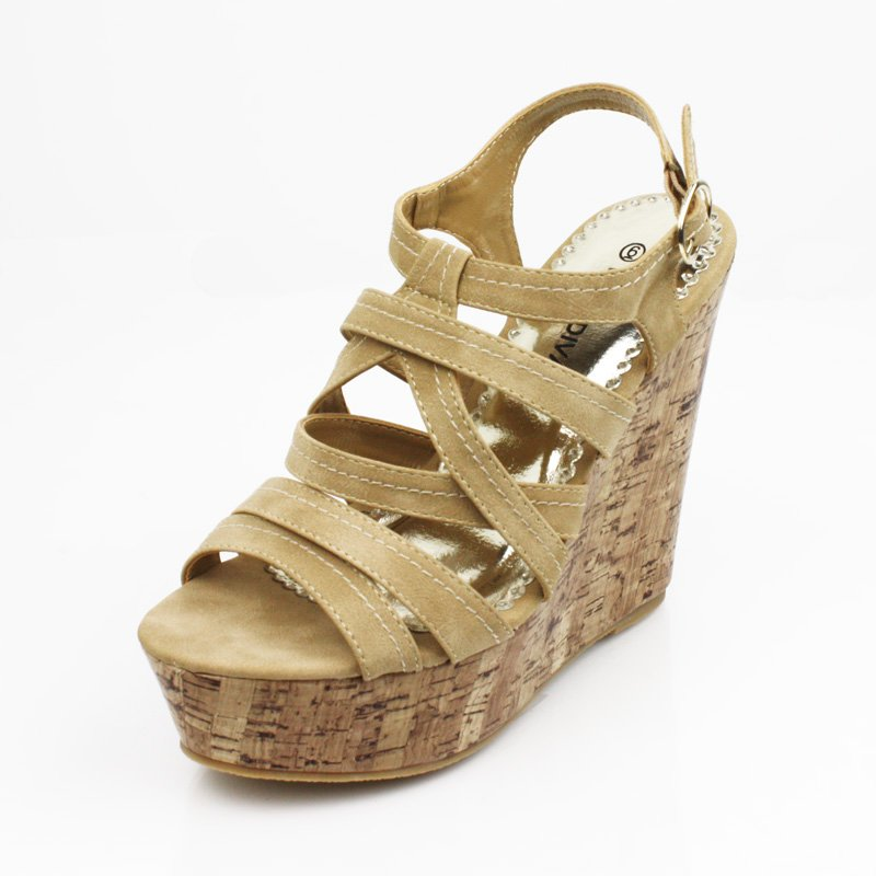 Tan Faux Cork Wedge Platform Womens Shoes