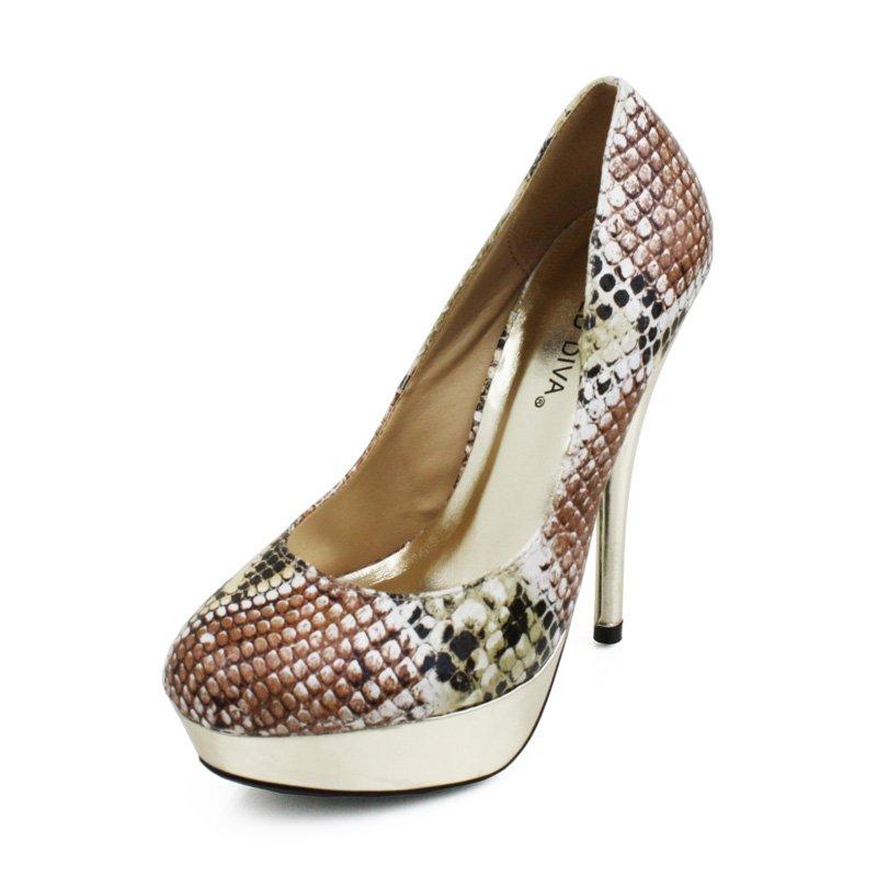 Natural Faux Snakeskin Platform Pumps Womens Shoes