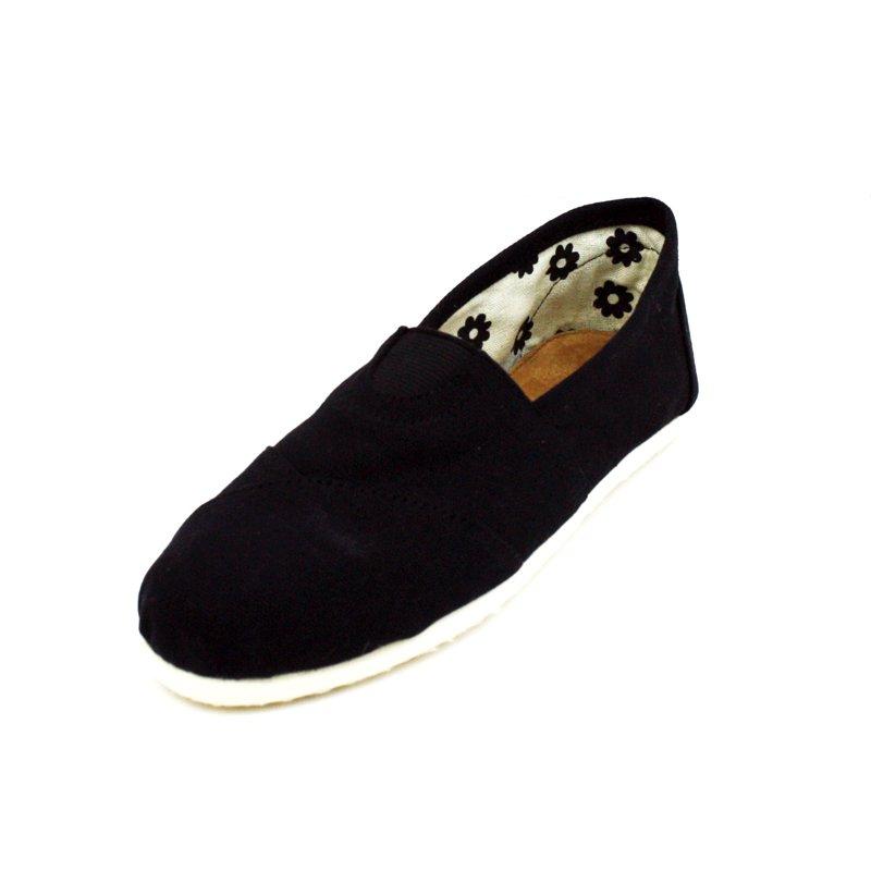 Black Canvas Flats Womens Shoes