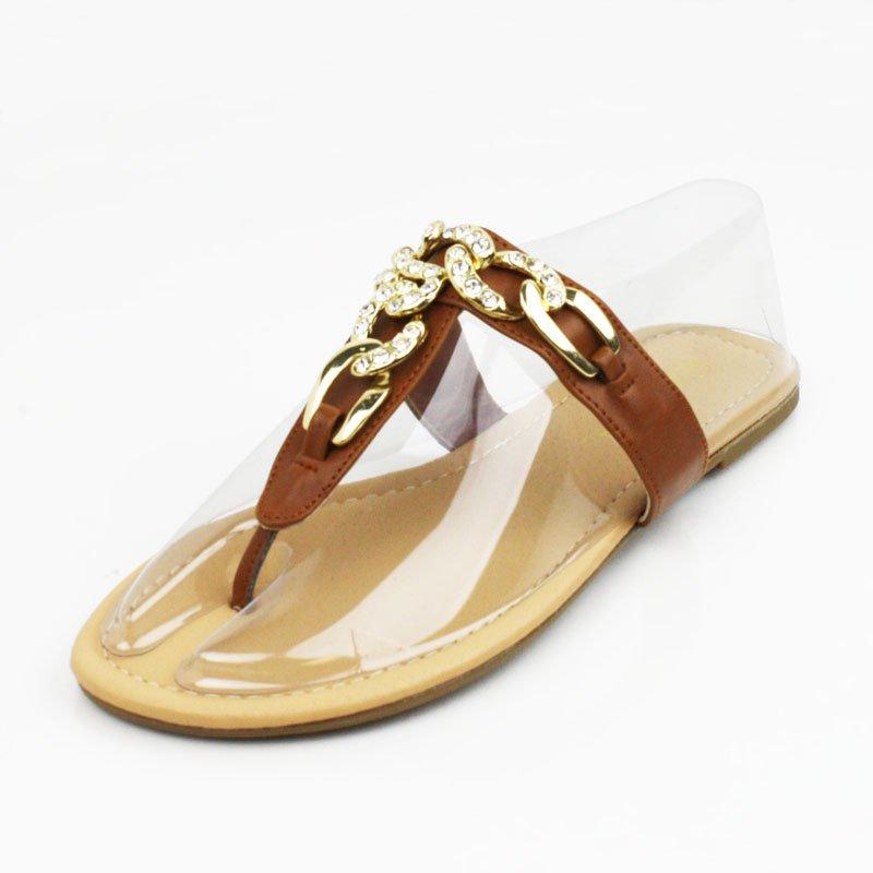 Whisky Rhinestone Chain Sandals Womens Shoes