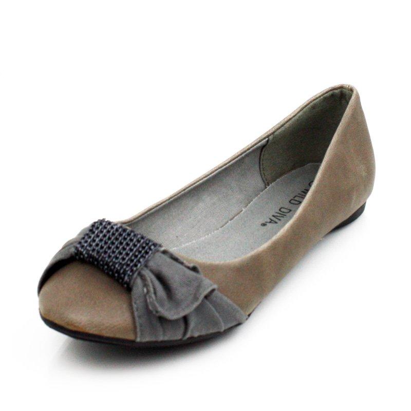 Gray Mini Chain Flats Womens Shoes