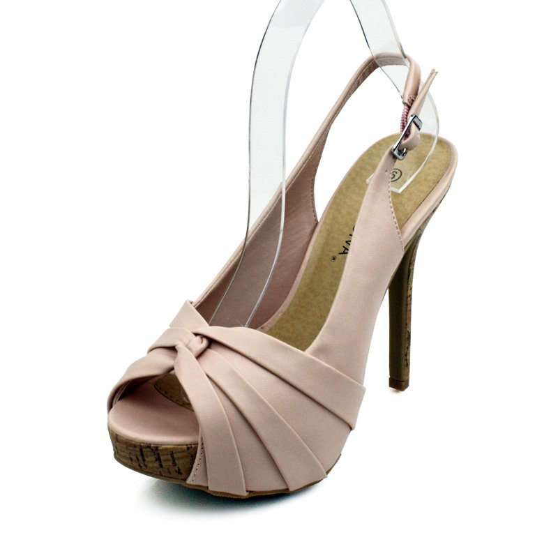 Nude Open Toe Platform Slingback Womens Shoes