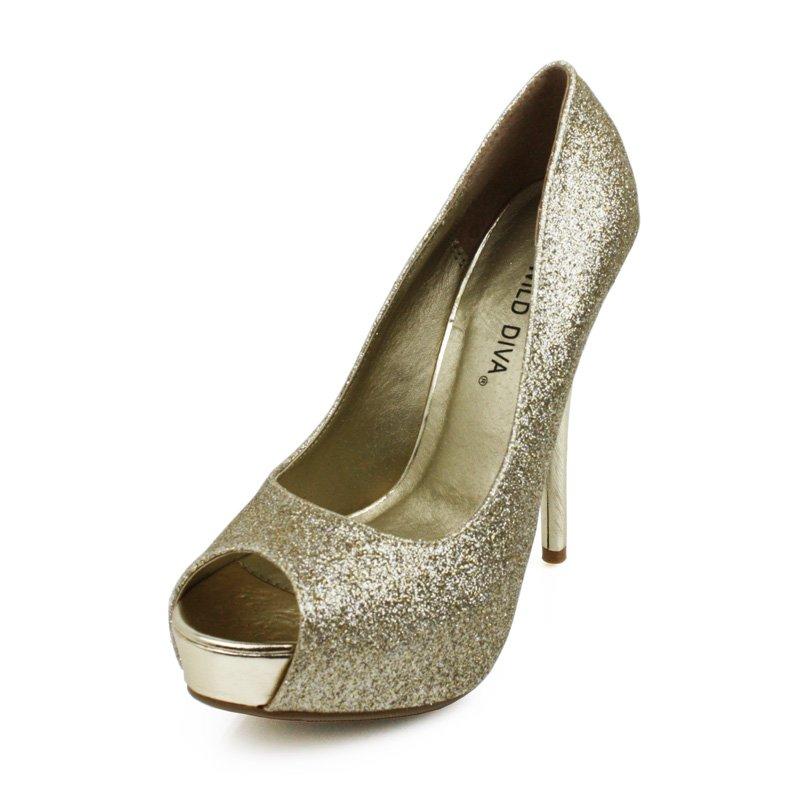 Champagne Glitter Peep Toe Pumps Womens Shoes