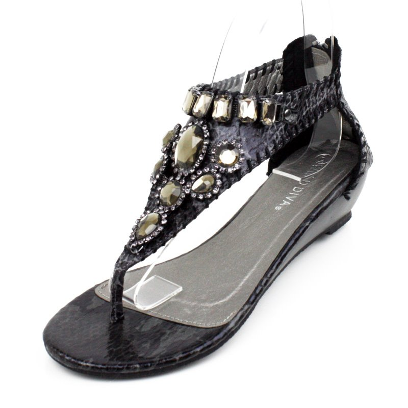Black Embellished Faux Snakeskin Wedge Womens Shoes